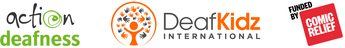 The Action Deafness, DeafKidz International, and Funded by Comic Relief logos